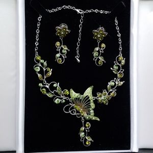 Butterfly necklace and earrings matching set